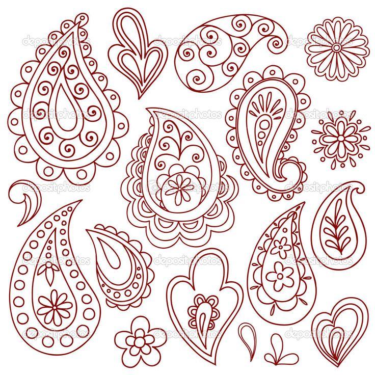 flor paisley henna doodle vector diseño conjunto de elementos - Ilustración de stock: 9127236
