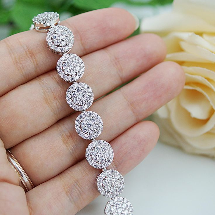 LUX Cubic Zirconia circle Bridal Bracelet - Earrings Nation