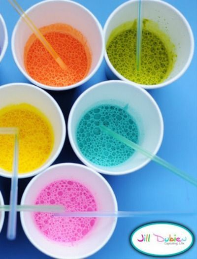 Bubble Paint -- Blow bubbles to make art! Kids will love this fun after school activity.