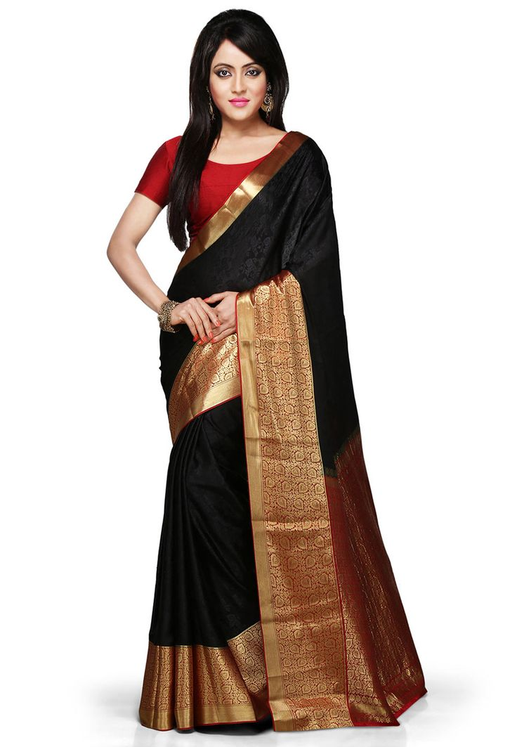 Buy Black and Red Pure Mysore Silk Saree with Blouse online, work: Woven, color: Black / Red, usage: Party, category: Sarees, fabric: Silk, price: $264.50, item code: SHU244, gender: women, brand: Utsav