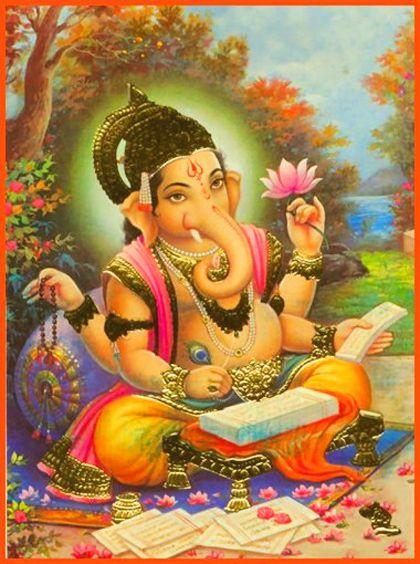 El dios Ganesha ayudando a Vyasa Muni a escribir el Mahabharata.