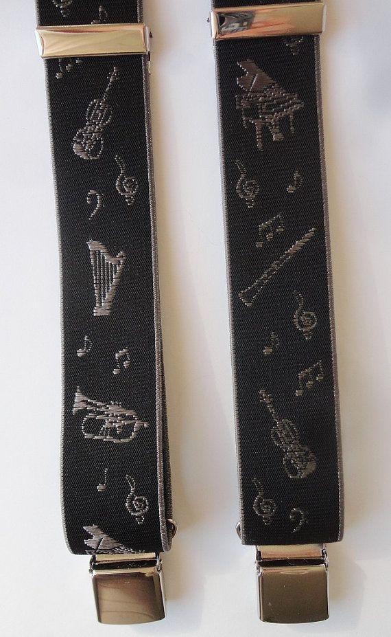 Bretelle nere con disegni di strumenti musicali - modello a Y- divisore in vera pelle - lunghezza cm 120, regolabile by SuspendersTime #italiasmartteam #etsy