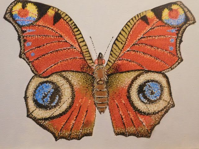 My Illustrations: Butterfly done with acrylics using pointillism.