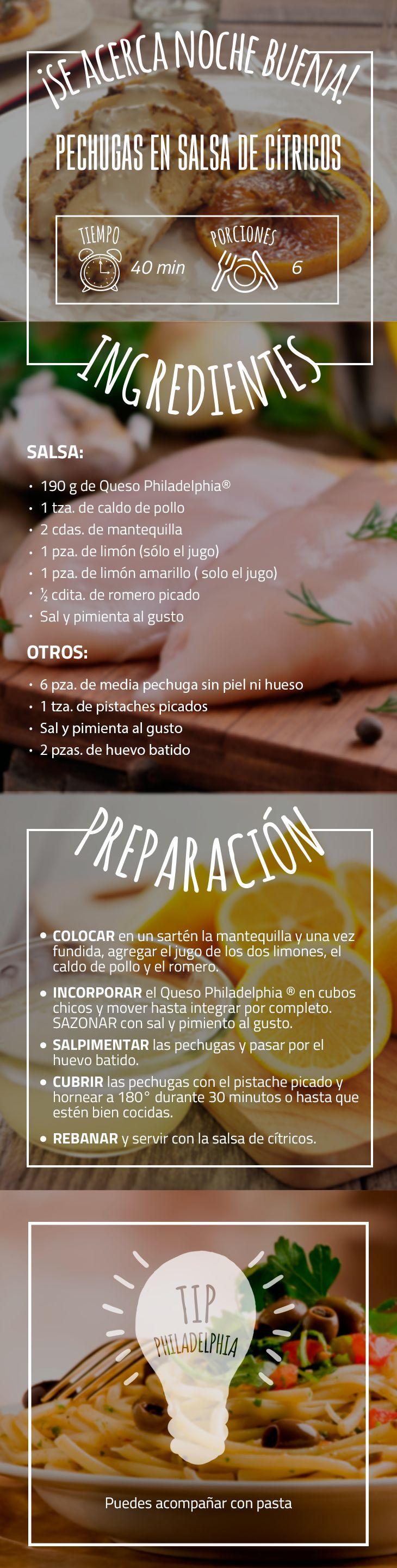 Sorprende a todos en la mesa con esta deliciosa receta navideña. #cena #pechugas #salsadecitricos #naranjas #cenadenavidad