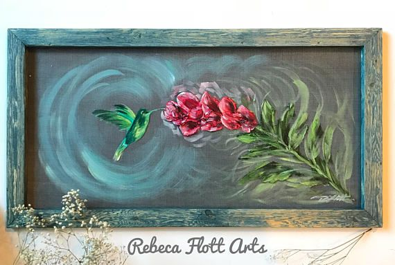 At 16x30inches this beautiful art on screen with a recycled frame, offers you something extremely unique to decorate your home. It goes great with rustic, or country styled homes, or homes that are looking for something extraordinary. This wonderful hand painted piece can also liven