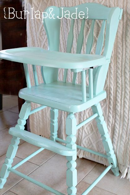 I am taking this exact highchair and painting it like this! Light blue painted furniture - high chair.