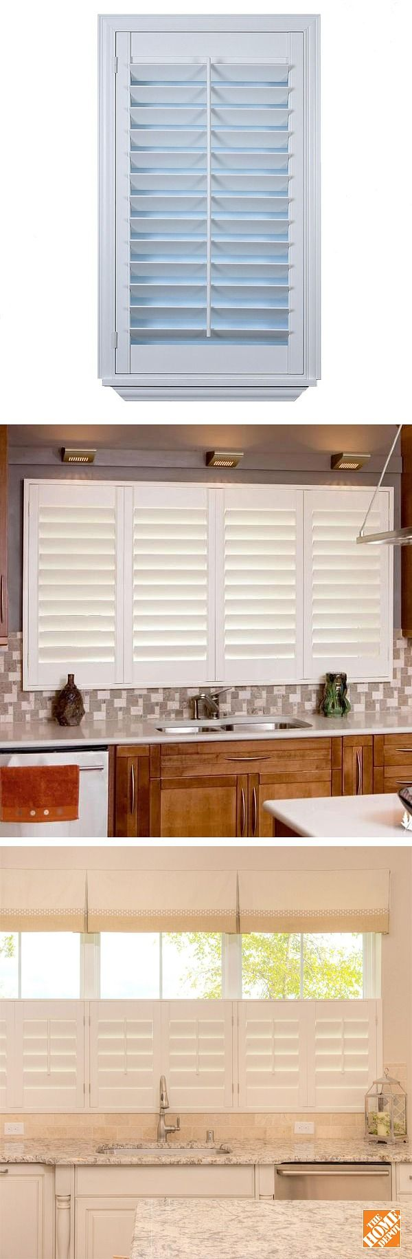 "These custom poly ""faux wood"" shutters offer the same classic look and architectural features as wood shutters, but with the added benefit of moisture resistance for high humidity areas such as bathrooms, kitchens and shower areas. We'll measure your windows for a perfect fit, and help your choose your options. Then we'll professionally install your new shutters. Click through to learn more."