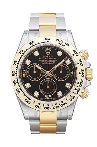 Rolex Cosmograph Daytona Black Diamond Dial Steel 18K Yellow Gold Men's Watc...