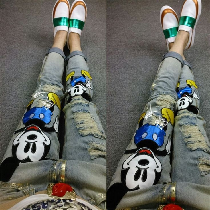 49.14$  Watch here - http://alieaa.worldwells.pw/go.php?t=32640972930 - Europe spring 2016 fashion personality cartoon hole slim slim jeans all-match feet female