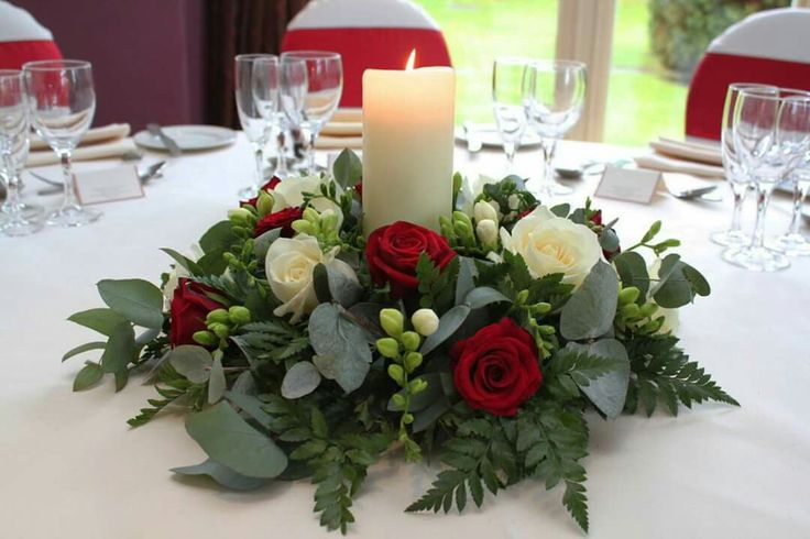 Red and White Candle Table Centre