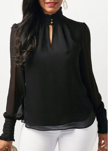 e92a276d109af4 High Neck Blouson Sleeve Keyhole Neckline Blouse on sale only US$29.22 now,  buy cheap High Neck Blouson Sleeve Keyh… | Fashions Fade [Style is eternal]  ...
