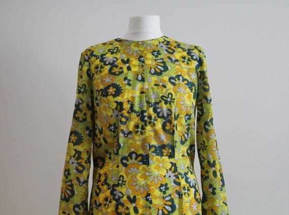 Vintage 1960's Yellow Floral Shift Dress (Size 12 - 14 UK) [& Headband]