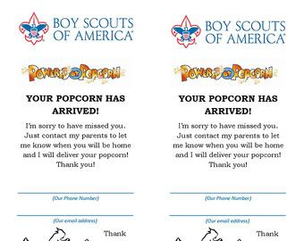 """Boy Scout Popcorn """"Your Popcorn Is In"""" Card"""