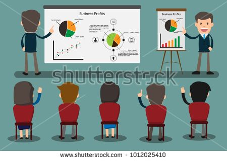 Business concept illustration of businessman giving a presentation. Audience, seminar, conference theme concept vector illustration.