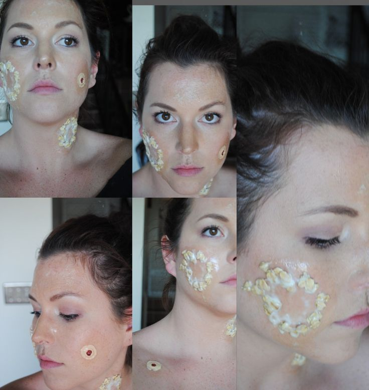 Zombie makeup with cereal