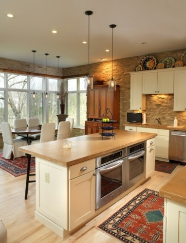 Warm kitchen colours: Cabinets Decor, Kitchens Design, Stones Wall, Double Ovens, Kitchens Islands, Pendants Lights, Andrew Melaragno, Eclectic Kitchens, Wall Ovens