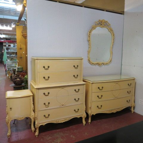 SOLD. vintage antique shabby chic French style #bedroom set, circa 1940. 4 piece set including tallboy chest of drawers, dresser, mirror, and end table. cream factory finish, carved detail all around, cabriole legs, and original brass hardware. $795 for the set.