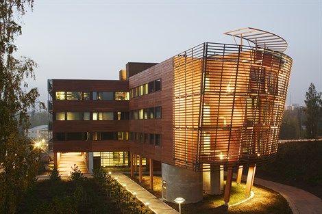 FMO Finnforest Building by Pekka Helin (2005). Read more on >>http://www.arcspace.com/travel/travel-guide-helsinki/