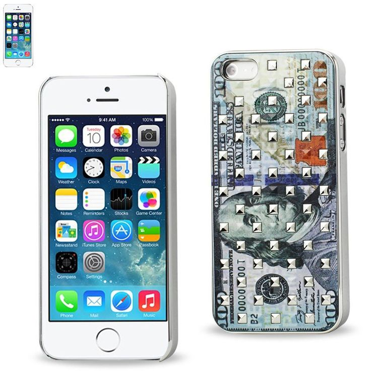 IPHONE SE/ 5S/ 5STUDDED PLATING RIVETS US $100 BILL PATTERN DESIGN CASE IN SILVER