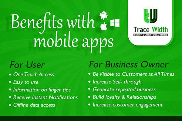 Mobile application development is trending right now and the industry is booming due to vast demand of ‪#‎Mobileapps‬. Trace Width Technology Solutions, a highly recommended mobile app development company offers customized mobile apps for consumer needs and enterprises.