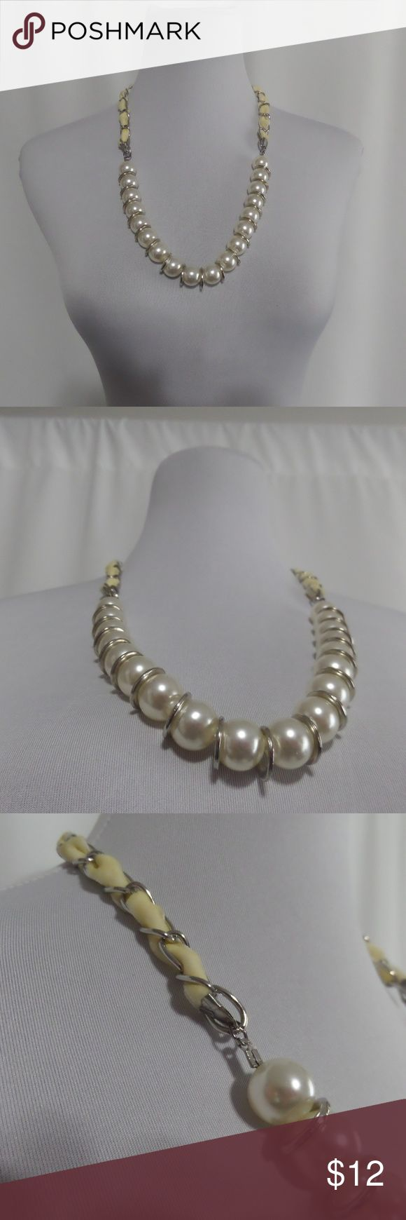 """Chunky Pearl Necklace Chunky Pearl Necklace Weave patterned back ~26"""" length  Costume Jewelry Items as pictured Chuns Fashion Jewelry Necklaces"""