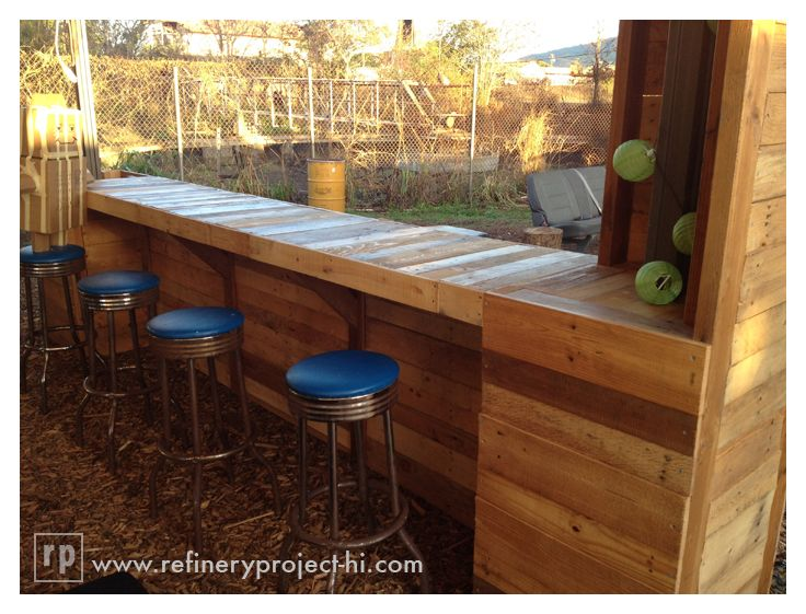 Bar from wood pallets at refinery project it 39 s not just for Wood outdoor bar ideas