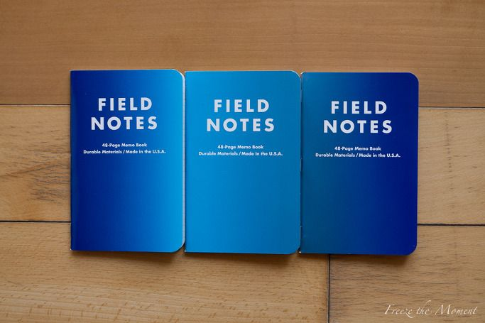 "FIELD NOTES ""I'm not writing it down to remember it later, I'm writing it down to remember it now."" Winter 2013: Cold Horizon Edition http://fieldnotesbrand.com/colors/coldhorizon/ we've blended a range of three blues across all three notebooks, invoking the deeply saturated winter twilight sky, fluorescent glacial water, and the shiny metallic glimmer of the Aurora Borealis. 2013 겨울 에디션은.."