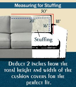 Measurement for couch cushion stuffing
