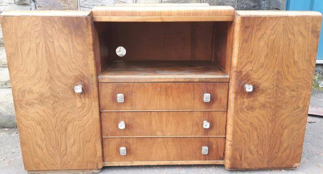 Vintage Walnut Sideboard For Sale in Dewsbury, West Yorkshire