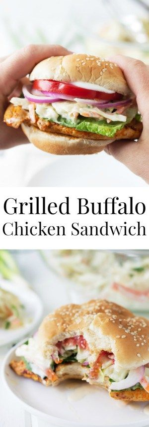 Grilled Buffalo Chicken Sandwich -a super easy recipe for juicy grilled chicken breast coated in a spicy buffalo sauce! | www.countrysidecravings..com (Grilled Chicken Wraps)