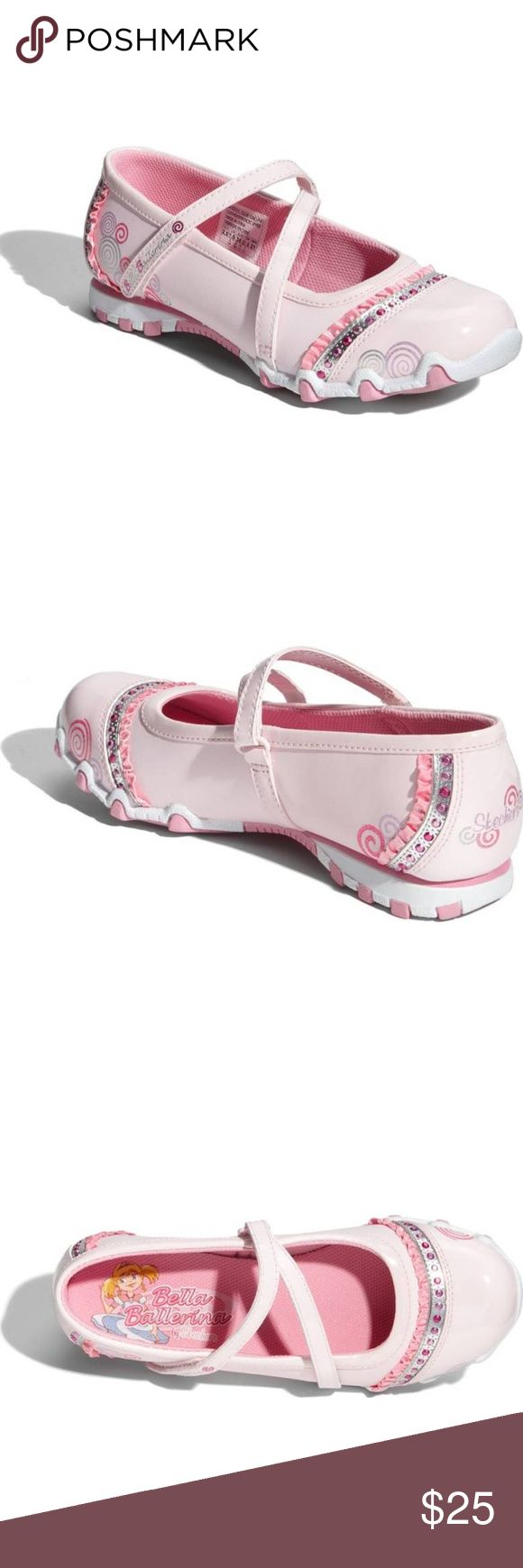 NWT! SKECHERS  'Bella Ballerina' leather Mary Jane Give new a twirl in the SKECHERS Bella Ballerina! Delightful swirls and sparkles adorn a ruffled mary jane outfitted with a special spot in the forefoot meant for tons of twirling time.  Leather and synthetic upper/textile lining/rubber sole. By Skechers; imported. Kids' Shoes. Item #388580 Skechers Shoes Sneakers