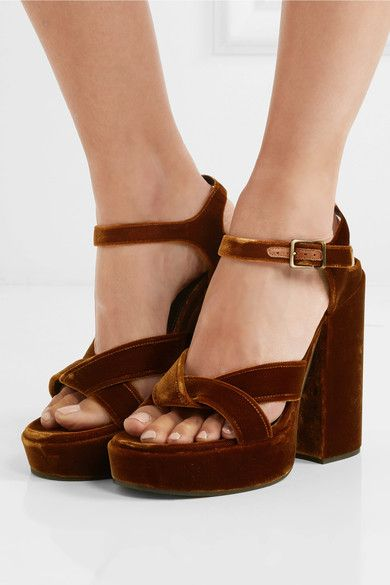 Heel measures approximately 100mm/ 4 inches with a 30mm/ 1 inch platform Ocher velvet Buckle-fastening ankle strap Made in Italy