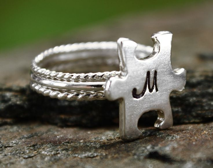Autism Puzzle Piece Jewelry Personalized Ring, Autism Jewelry Monogram Ring, aspergers jewelry by MountainMetalcraft on Etsy https://www.etsy.com/listing/181121037/autism-puzzle-piece-jewelry-personalized
