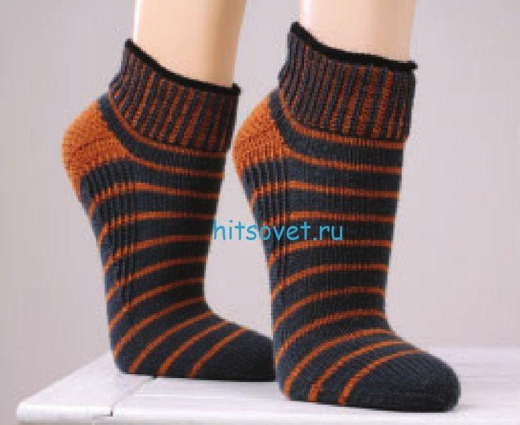 Вязание носков спицами с укрепленной пяткойю Вам потребуется: По 50 г пряжи коричневого и черного цвета (50% шерсти и 50 г акрила), спицы № 3