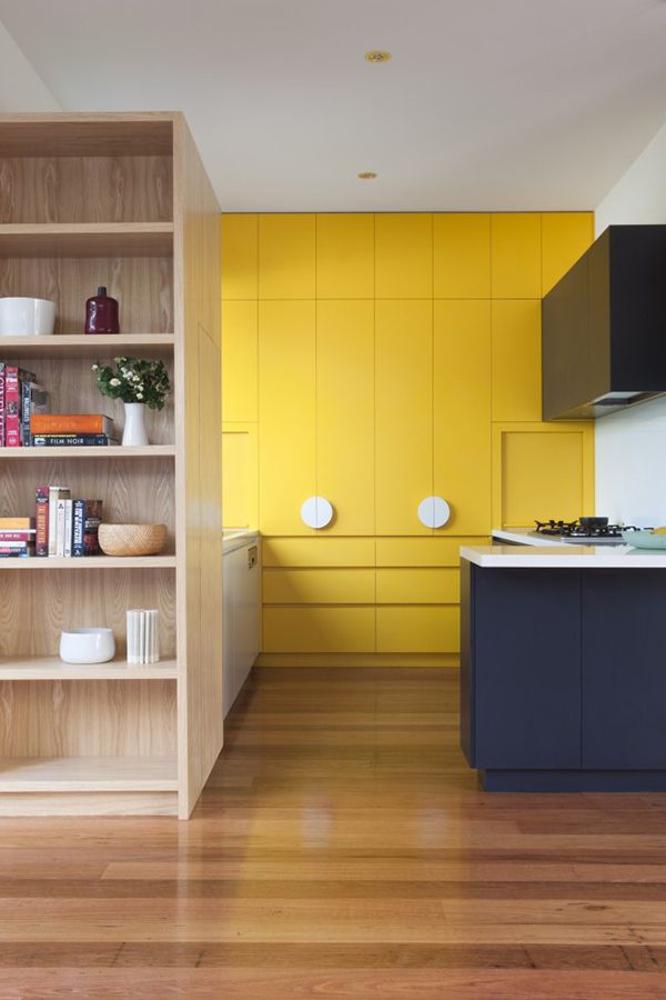 Yellow communicates happiness and is visually sunny. This bright example imbues radiant energy that is perfect for a kitchen, while a muted yellow is considered more of a soothing neutral.