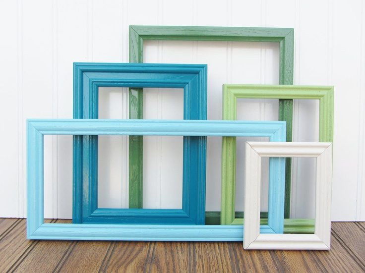 Painted Frame Set of 5 Upcycled Vintage Gallery Wall Frame Set Coastal Beach Cottage. $46.00, via Etsy.