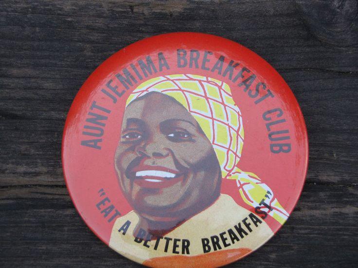 "Aunt Jemina Breakfast Club ""East A Better Breakfast"" Button Pin Pancake Iconic"