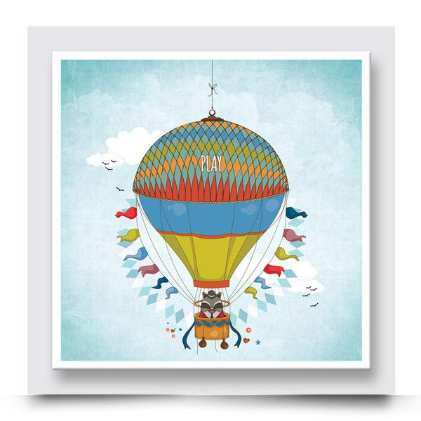 PLAYFUL FLOATING RACCOON hot air balloon wall art, adds a bold, colourful and happy vibe to a nursery, kids bedroom or playroom. You have the choice to have it printed on stretched canvas or box framed or personalised with your child's name. Order your art print from http://www.madicleo.com/collections/wall-art-for-boys-rooms