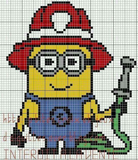 Minion pompier grille c2c crochet