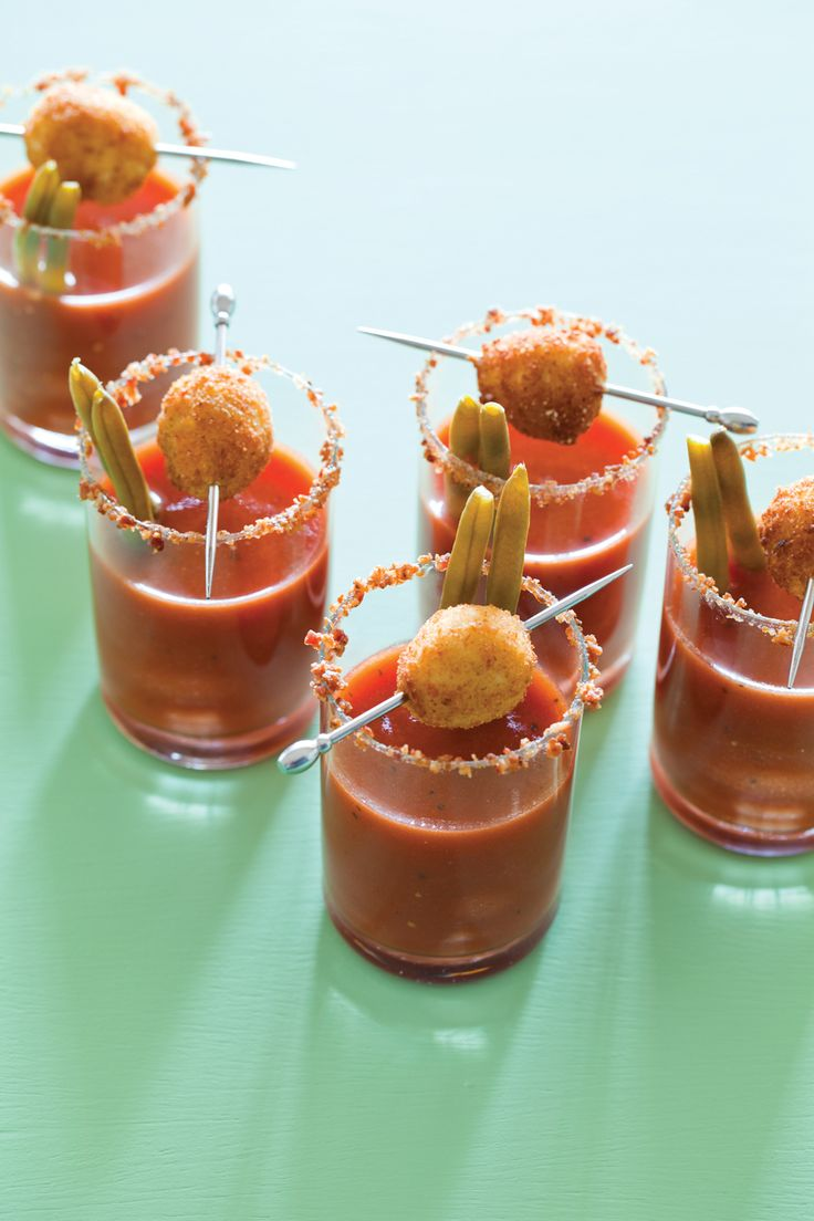 Tiny Bloody Marys with Fried Olives - sign me up Lol I thought these were mini mozzerella balls and tomato soup