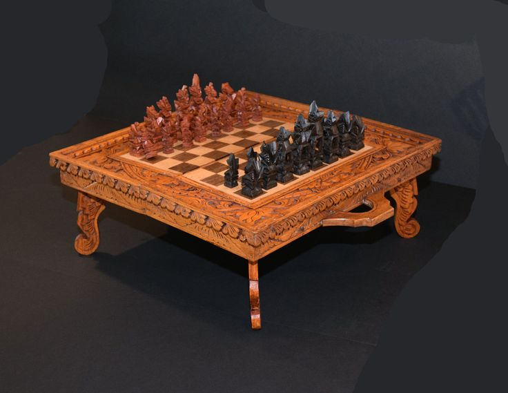 Vintage Chess Set / Hand Carved Wood / Wooden / Antique / Asian / Folding Table / by AntiquesNOldies on Etsy
