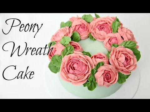 Peony Buttercream Flower Wreath Cake - CAKE STYLE - YouTube