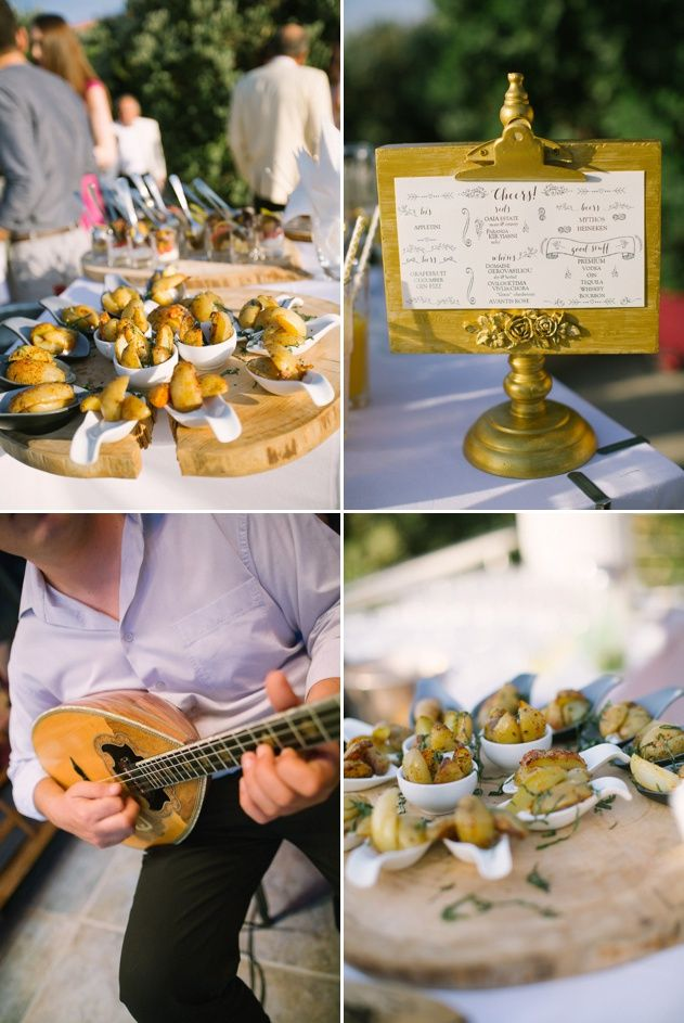 Rustic garden wedding theme. Wooden platter, golden rustic table seating chart. Greek traditional musician. Wedding design by Stella and Moscha Weddings. Photos by Adrian Wood.