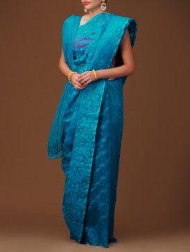 Turquoise Dhakai Jamdani Cotton Saree