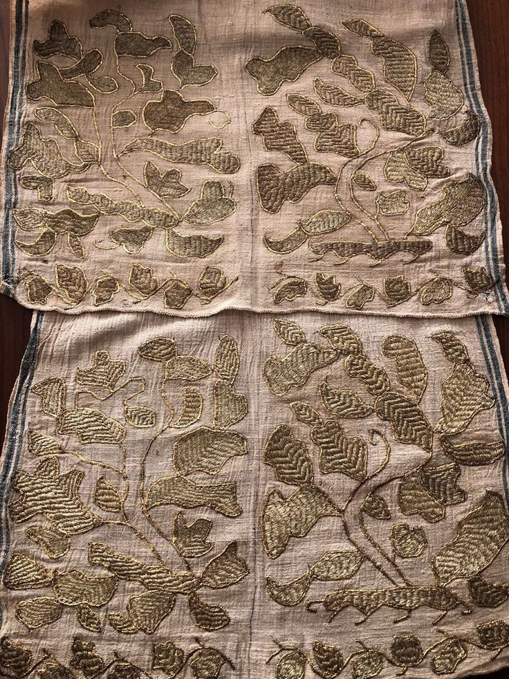 "ANTIQUE Ottoman-Turkish Heavily Gold Metallic Hand Embroidered Double Sash - $780.00. You are viewing an attractive example of embroidery. I'm offering a lovely ""double sash'' for bride and groom. Origin: Turkey Example from the: Ottoman periodColourway of the fabric : ecru It is a hand loomed linen fabric.The hand embroidery is on both ends, heavily gold metallic thread on linen; The embroidery technique counted stitches neat and worked reversible,not distinguishing between ..."