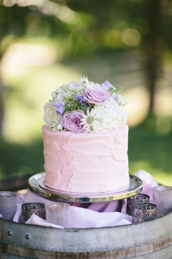 Single Tier Floral Topped Wedding Cake | White Images