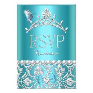 tiffany inspired sweet 16 invites | Borboleta azul do damasco de Quinceanera a 15a Convite 16.51 X 22.22cm ...