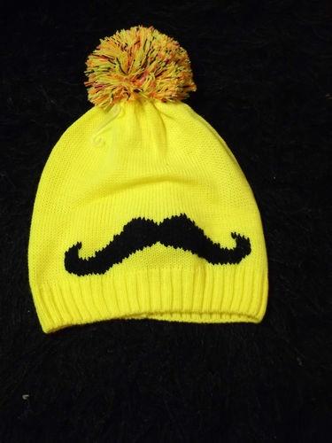New Hipster Yellow Handlebar Mustache Pom Pom Winter Cap One Size Pop Culture | eBay