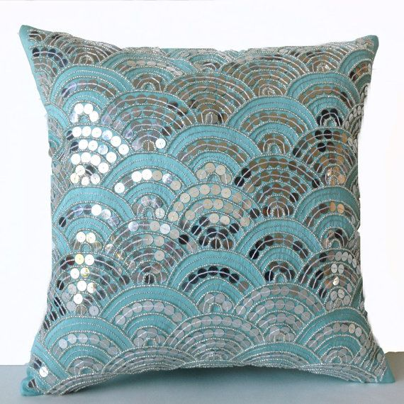 Teal Pillows Embroidered Waves Sashiko Pillow Cover by AmoreBeaute