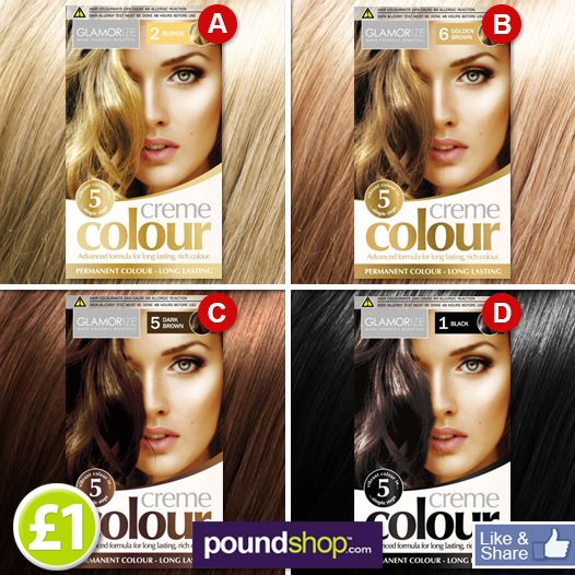 Wonderful Creme Colour hair dye on sale now! What shade will you go for?...A,B,C or D? www.poundshop.com/toiletries/hair-care